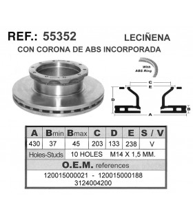 DISCO FRENO LECIÑENA C/ABS