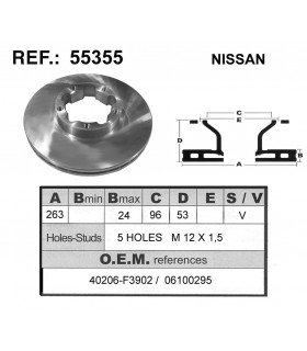 DISCO FRENO NISSAN TRADE 5 TALADROS