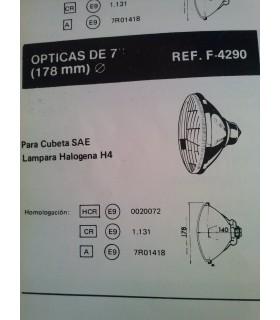 ÓPTICA UNIVERSAL 178 MM CRUCE-CARRETERA H4