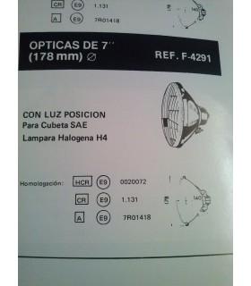 ÓPTICA UNIVERSAL 178 MM CRUCE-CARRETERA H4 MAS LUZ DE POSICIÓN